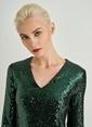 People By Fabrika V Yaka Payet Elbise Yeşil